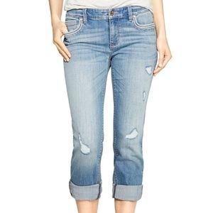WHBM straight leg crop distressed jeans, size 10